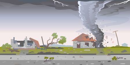 Tornado with spiral twists destroys houses, big dangerous tornado destroys buildings in residential neighborhood, nature disaster concept illustration background