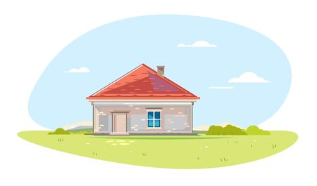 One small brick rural house in front view standing on green lawn in summer day with blue sky isolated composition, own house with red roof tile, window and chimney