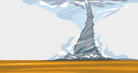 Tornado with spiral twists destroys all around in wild nature, the power of nature landscape background in flat style, agricultural fields are being destroyed by hurricane Ilustração