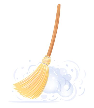 One big yellow broom sweep floor with long wooden handle and clouds of dust isolated, household implement from dust and dirt Illusztráció