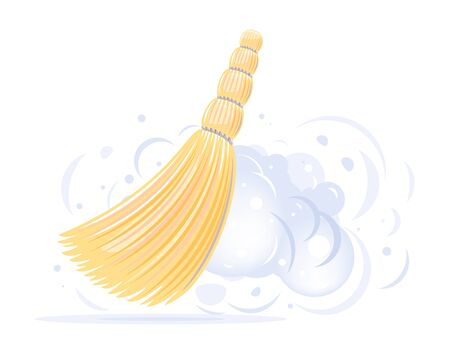One small yellow broom sweep floor with clouds of dust isolated illustration, household implement from dust and dirt, sorghum broom cleaning