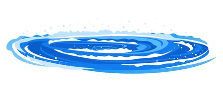 Whirlpool with spiral twists on water in side view isolated illustration, powerful whirlpool waves with splashes and foam in blue water, dangerous nature phenomenon Иллюстрация