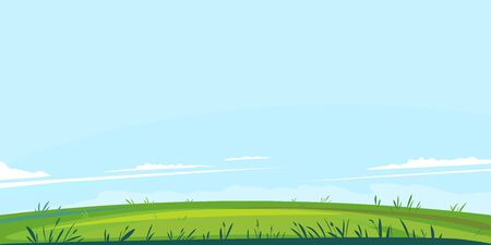 Green lawn with grass against blue sky with small white clouds, summer sunny glade with field grasses and blue sky, freedom landscape illustration, summer nature sample background