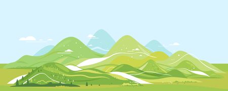 High green mountains in sunny day with spruce forest and blue sky in simple geometric form, nature tourism landscape background in view from afar, travel adventure panorama of the mountain range