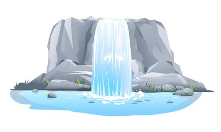 River waterfall falls from cliff in front view isolated illustration, picturesque tourist attraction with small waterfall and clear water, waterfall on steep rocky stream 일러스트