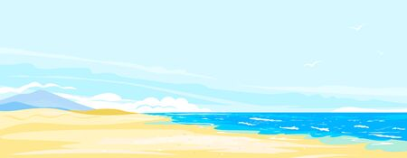Beautiful sandy wild beach on the seaside on sunny day, panorama of empty seacoast on side view with flying birds on blue sky, walk along the sea coast