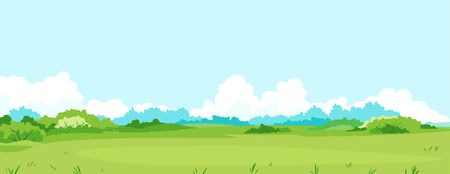 Green meadow with grass and bushes against blue sky with big white clouds, summer sunny glade with field grasses and blue sky, freedom landscape illustration, summer nature sample background