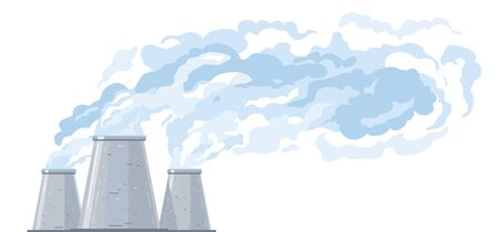 Three gray cooling tower in side view evaporates water and forms clouds, fog formation from industrial buildings, industrial tower with blue clouds isolated illustration in flat style Vector Illustration