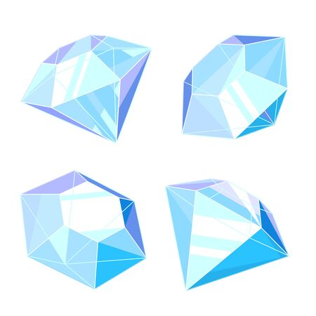 Set of four diamonds in different angles isolated illustration, gems with sharp blue edges Ilustração