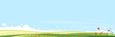 Big panorama of meadows with red poppy flowers, summer countryside with green hills, summer sunrise glades with field grasses and blue sky, beautiful tourist place