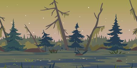Dark swamp landscape with spruce trees and dead trees, terrible mystical place game background tillable horizontally, swamp with bulrush plants at twilight, disgusting mysterious place at night