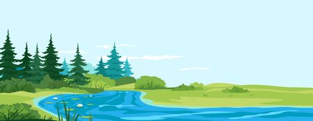 Small river flows along the forest nature landscape, scenic place for outdoor recreation, place for fishing in summer day, small winding river with white water lilies near the forest Vecteurs