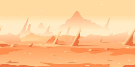 Martian landscape with danger sharp rocks game background tillable horizontally, orange sand hills with rocks on a deserted planet with hight mountains in view from afar