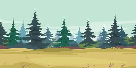 Yellow grass along spruce forest with small trees game background tillable horizontally, field grasses near the young spruce forest cartoon nature background, abandoned agricultural lands
