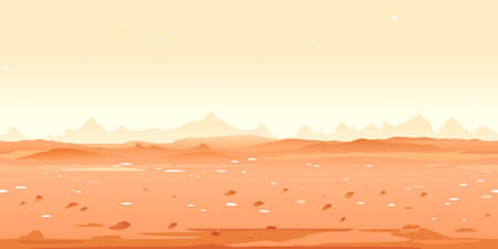 Martian desert game background tillable horizontally, orange sand hills with stones on a deserted planet with hight mountains in view from afar