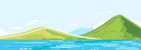 Green mountains in sunny day with river in side view and spruce forest in simple geometric form, nature tourism landscape background, travel mountains adventure illustration