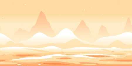 Martian sand dunes and yellow hills game background tillable horizontally, orange sand hills with rocks on a deserted planet with hight mountains in view from afar