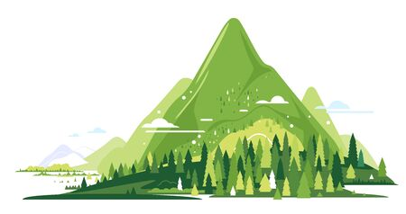 Group of green high mountains with spruce forest around, nature tourism landscape illustration isolated, sample creative mountains composition in flat style