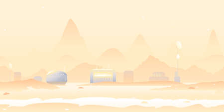 Martian landscape with Martian colony, colonization concept illustration game background tillable horizontally, orange sand hills with rocks on a deserted planet with hight mountains in view from afar