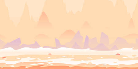 Martian landscape with danger sharp rocks game background tillable horizontally, fantastic purple rocks on a deserted planet with hight mountains in view from afar Vettoriali