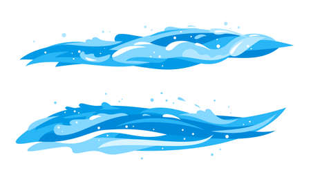 Blue water horizontal waves in side view isolated, group of twoo cartoon ocean waves, clipart compositions of waves, stream of fresh clean water