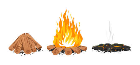 Set of three campfire stages isolated illustration, firewood ready for fire, campfire with long flames, ashes after the fire, stages of bonfire, ash and coal Vettoriali
