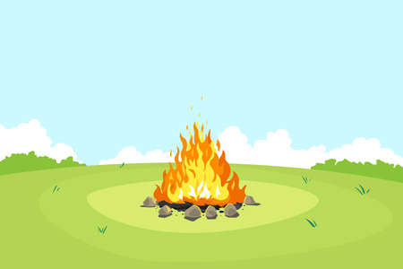 Campfire on green glade and blue sky in summer day, place for camping nature background, campfire with stones on round lawn, perfect spot to pitch tent Vettoriali
