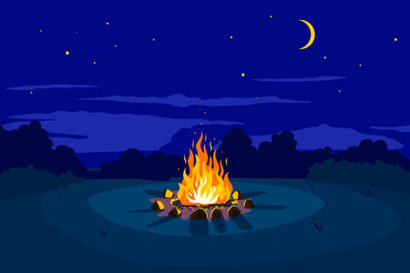 Campfire at night on glade and stars on sky with young moon, place for camping nature background, campfire with stones on round lawn, perfect spot to pitch tent