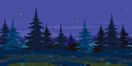 Ground trail along spruce forest at night game background tillable horizontally, tourist route at midnight near the dense spruce forest nature background, in search of dangerous forest adventures