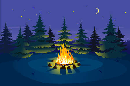 Bonfire in night spruce forest on glade and stars on sky with young moon, place for camping nature background, campfire with stones on round lawn, perfect spot to pitch tent