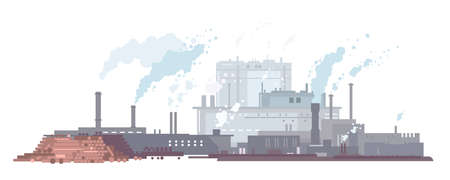 Paper mill factory with smoking pipes in flat style isolated, factory buildings silhouette, environmental pollution, making paper from wood pulp, ecology concept Vettoriali