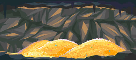 Heaps of gold coins in dark cave, treasures hidden deep in the cave, wealth conceptual illustration, gold reserves