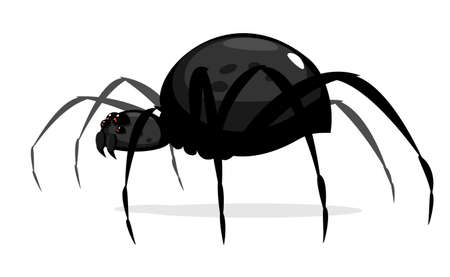 One big black cartoon spider with red evil eyes, scary spider in side view isolated Illustration