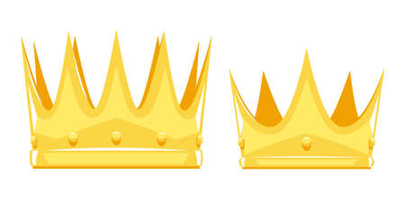 Set of two golden crowns for King and Queen with sharp edges in sample style, old power attribute in side view isolated