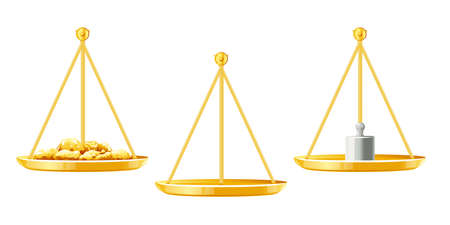 Set of weight scales with golden nuggets, weight measure and empty, part of golden justice scales, ancient weight scales on side view isolated illustration