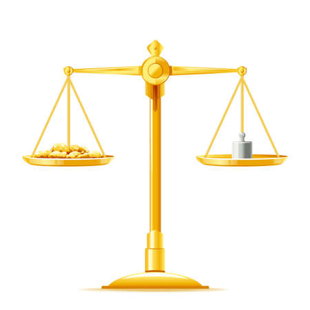 One full golden justice scales in front view with golden nuggets and weight measure, libra golden metal isolated illustration, balance on the scales, ancient weight scale isolated