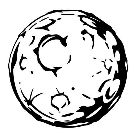Full Moon cartoon with big craters in black and white colors isolated, silhouette of the planet with craters