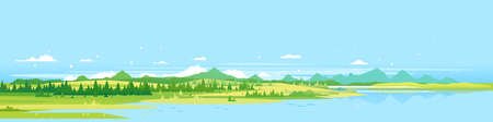 Big panorama of green mountains with spruce forest around mountain lake in valley, summer countryside with green mountains and river, summer sunny glades illustration