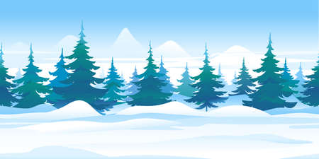 Winter nature landscape with spruce trees tillable horizontally, beautiful winter day on snowy path through the forest, spruce trees in mountains, in search of forest adventures Иллюстрация