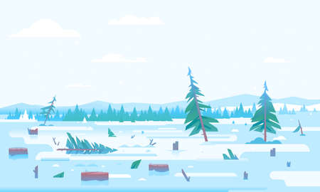 Winter deforestation with many stumps and small sptuce trees after Christmas, nature disaster concept illustration in flat style, cutting down trees, environmental pollution and ecological problems