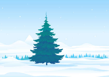 Winter nature landscape with one tall spruce tree in center of lawn, beautiful winter day on snowy forest Иллюстрация