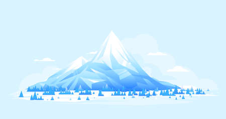 High mountain with spruce forest in simple geometric form, nature landscape, travel illustration, sample creative mountains of sharp bright ice composition in flat style Иллюстрация