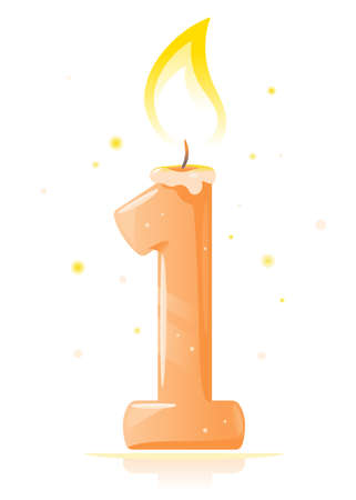 One small orange lighted birthday candle in form of number one in front view isolated, one year greeting candle illustration, cartoon quality lighted candle
