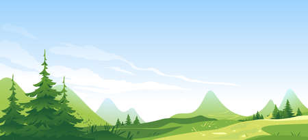 Tourist route through the spruce forest and hills in the beautiful green mountains in sunny day, hiking travel concept illustration landscape