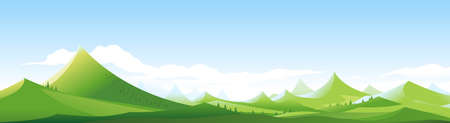 High cartoon green mountains in sunny day with sharp peaks on blue sky in simple geometric form, nature tourism landscape background in view from afar, travel adventure panorama of the mountain range Иллюстрация