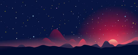 Fantastic sunrise landscape panorama among the mountains on background of starry sky, evening landscape on a fantastic planet, colonization of new planet, eps10 with blending mode