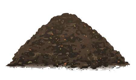 One big brown heap of organic compost in side view isolated illustration, fertile soil for growing garden crops, composting process of fallen leaves, transformation of food waste into fertile soil