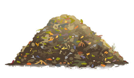 One big brown heap of organic food for compost in side view isolated, composting process of food waste and fallen leaves, transformation of food waste into fertile soil, landfill of organic waste