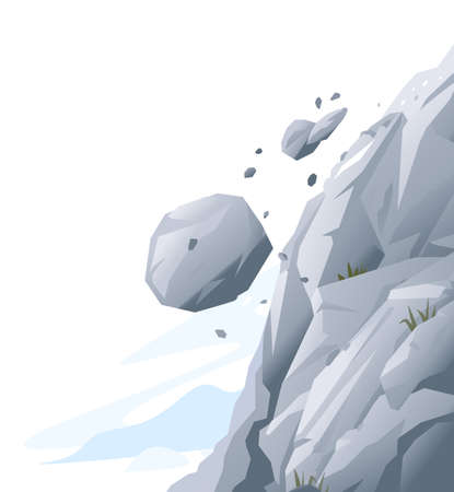 Gray rock with stones falling down, natural hazard from falling stones, danger in mountains concept, dangerous nature phenomenon, landslide in mountains Иллюстрация