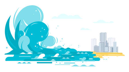 Simple big Tsunami waves coming to city in flat style isolated, big blue ocean wave in side view, nature disaster concept illustration, consequences of earthquake in ocean